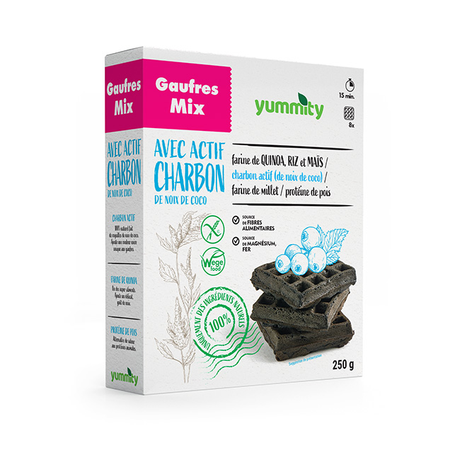 Gaufres sans gluten au charbon actif 250 g Yummity