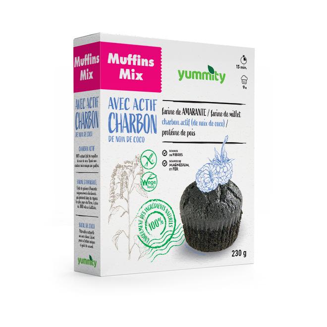 Muffins à la noix de coco sans gluten avec du charbon actif 230 g Yummity