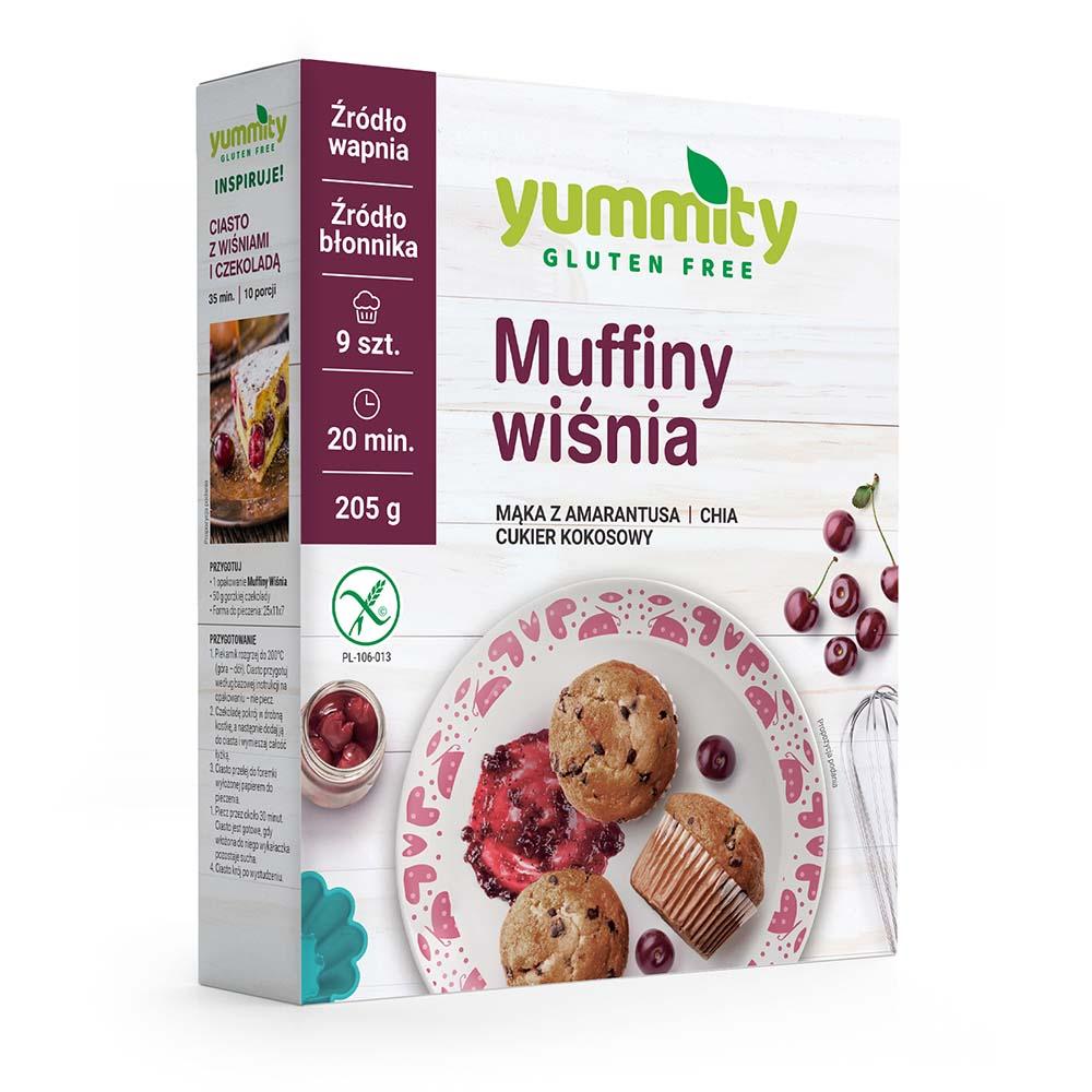 Bezglutenowe muffiny wiśniowe 205g Yummity